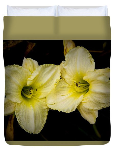 Yellow Day Lilies Duvet Cover