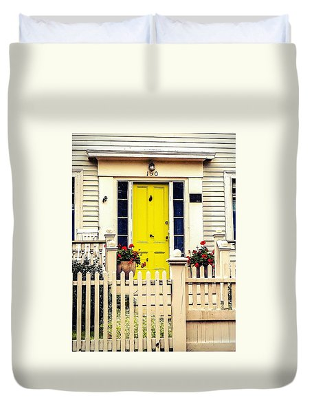 Duvet Cover featuring the photograph Yellow Door by Kendall McKernon