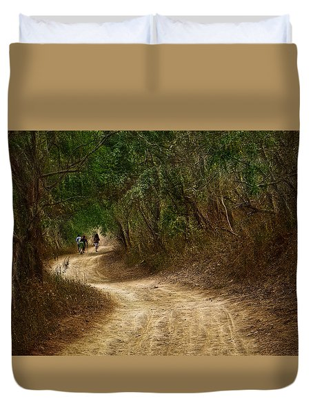 Yellow Dust Road Duvet Cover