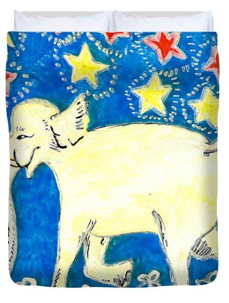 Yellow Elephant Facing Left Duvet Cover by Sushila Burgess
