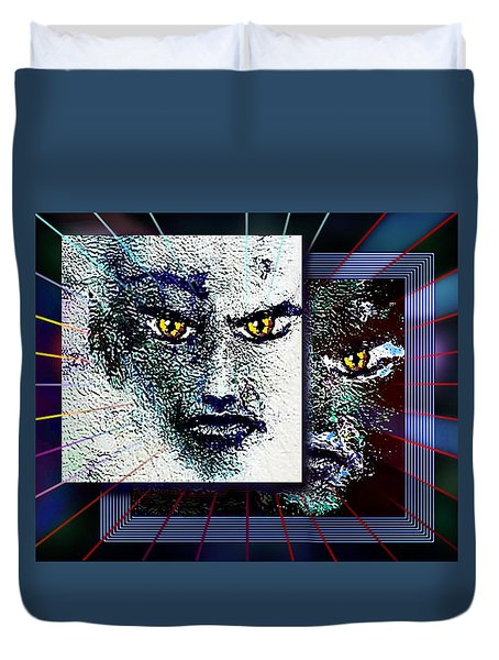Duvet Cover featuring the painting Yellow Eyes by Hartmut Jager