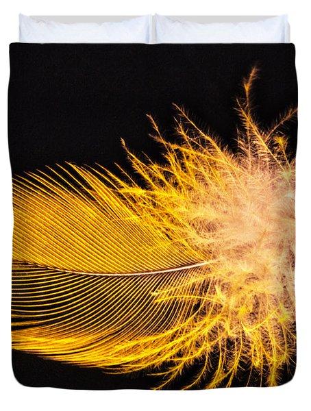 Yellow Feather Macro Duvet Cover