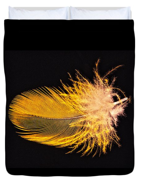 Yellow Feather Macro Duvet Cover