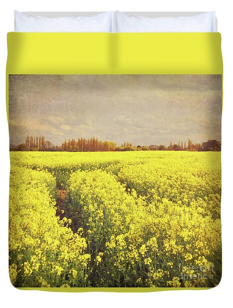 Yellow Field Duvet Cover by Lyn Randle