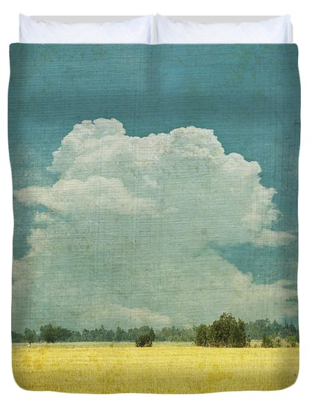 Yellow Field On Old Grunge Paper Duvet Cover