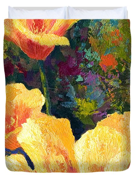 Yellow Field Poppies Duvet Cover