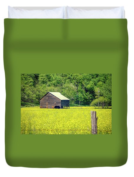 Yellow Field Rustic Shed Duvet Cover