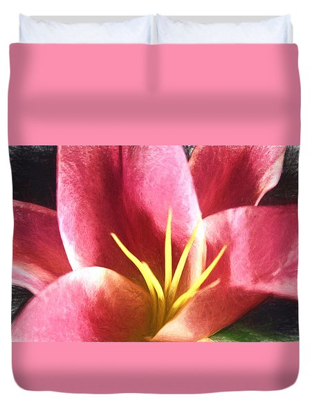 Yellow Fingers, Pink Blush Duvet Cover by Terry Cork