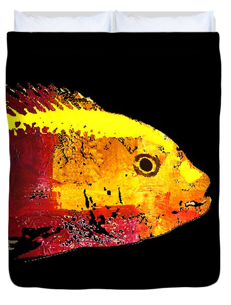 Yellow Fish Abstract Duvet Cover by Nancy Merkle