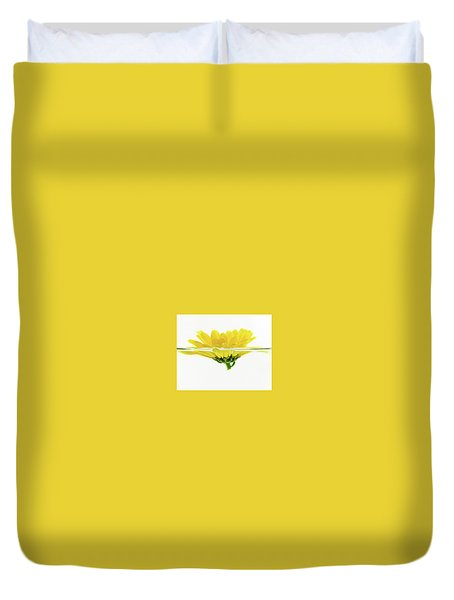 Yellow Flower Floating In Water Duvet Cover