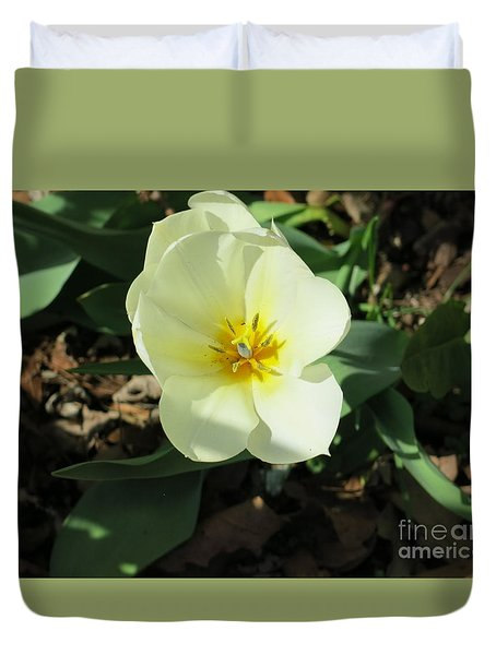 Yellow Flower Duvet Cover by Rod Ismay