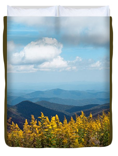 Yellow Flowers Along The Blue Ridge Mountains Duvet Cover
