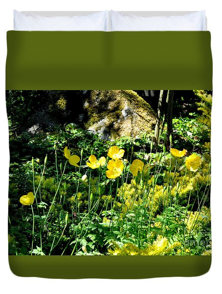 Yellow Flowers Bathing In The Sun Duvet Cover by Tanya Searcy