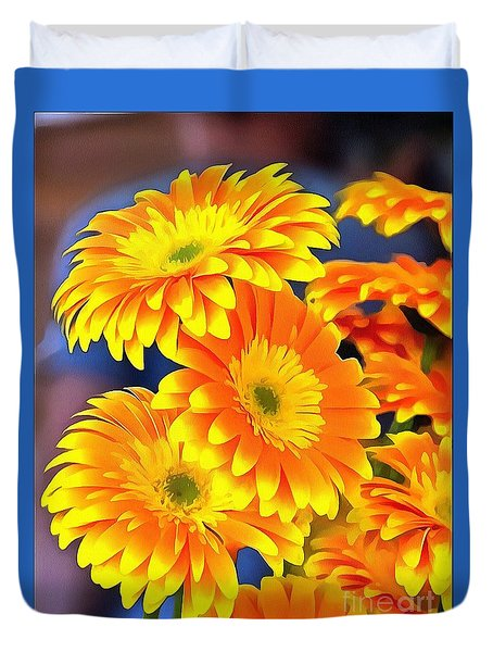 Yellow Flowers In Thick Paint Duvet Cover
