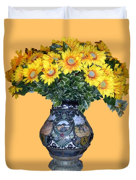 Duvet Cover featuring the photograph Yellow Flowers In Vase by Francesca Mackenney