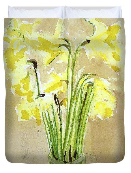 Yellow Flowers In Vase Duvet Cover
