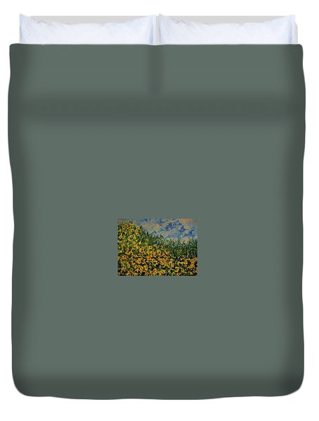Yellow Flowers Duvet Cover by Kat Griffin