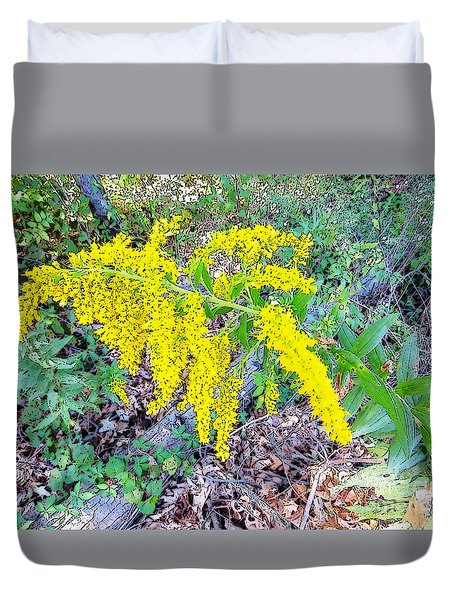 Yellow Flowers On Green Duvet Cover by Craig Walters