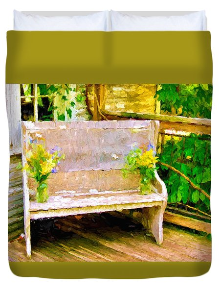 Yellow Flowers On Porch Bench Duvet Cover