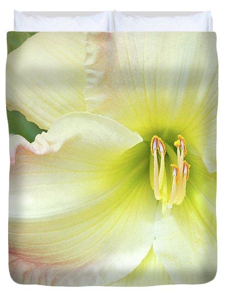 Yellow Folds And Pistils Duvet Cover