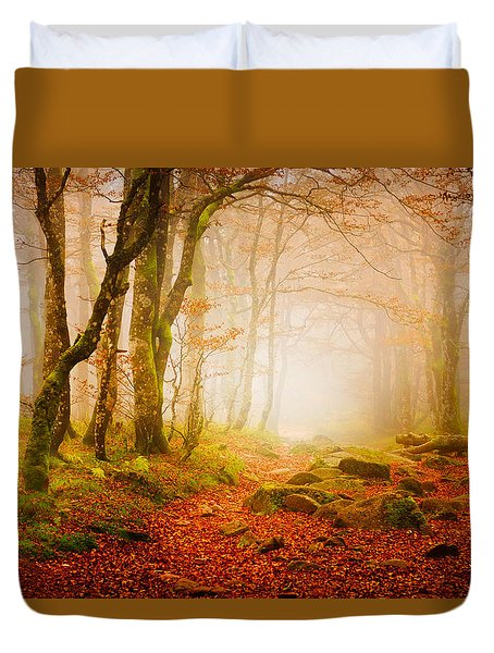 Yellow Forest Mist Duvet Cover