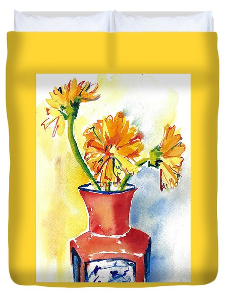 Yellow Gerbera Daisies In A Red And Blue Delft Vase Duvet Cover