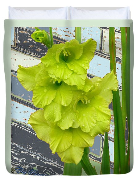 Duvet Cover featuring the pyrography Yellow Gladiolas by Elly Potamianos