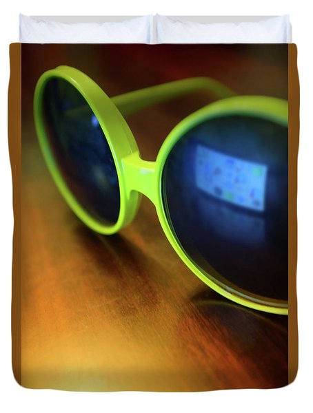 Duvet Cover featuring the photograph Yellow Goggles With Reflection by Carlos Caetano