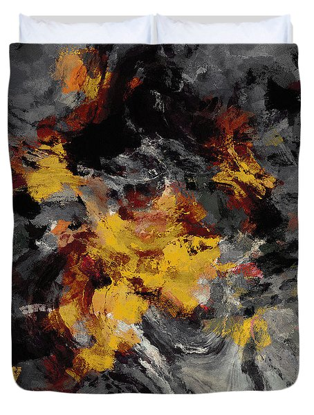 Duvet Cover featuring the painting Yellow / Golden Abstract / Surrealist Landscape Painting by Ayse Deniz