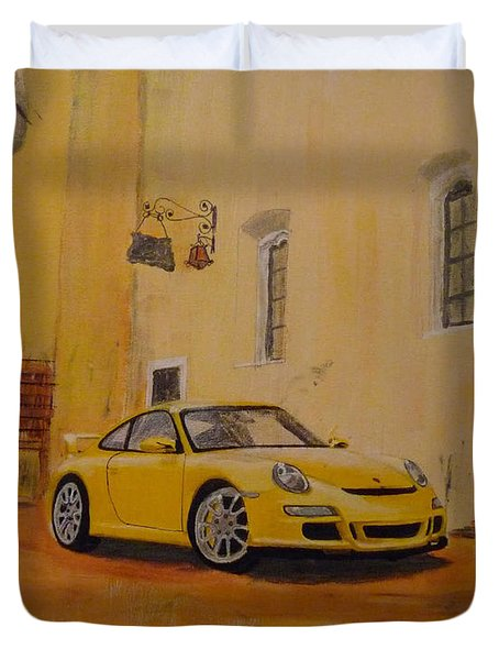 Yellow Gt3 Porsche Duvet Cover