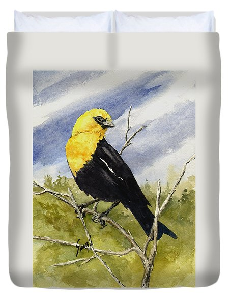 Yellow-headed Blackbird Duvet Cover