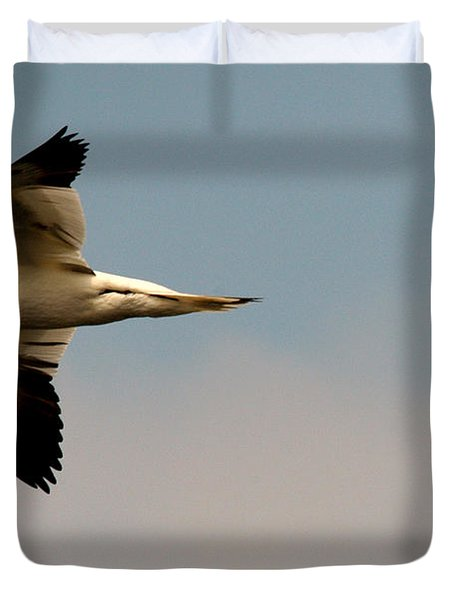 Yellow Headed Gull In Flight Duvet Cover