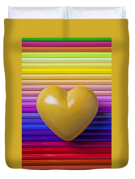 Yellow Heart On Row Of Colored Pencils Duvet Cover by Garry Gay