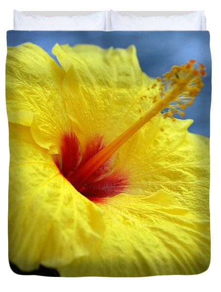 Duvet Cover featuring the photograph Yellow Hibiscus by Debbie Karnes