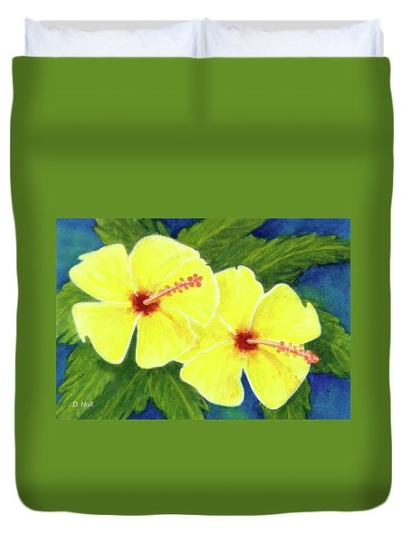 Yellow Hibiscus Flower #292 Duvet Cover by Donald k Hall