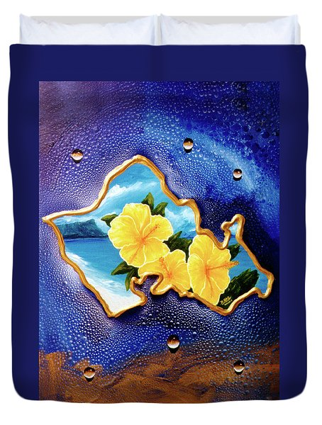 Yellow Hibiscus Hawaii State Flower #142 Duvet Cover by Donald k Hall