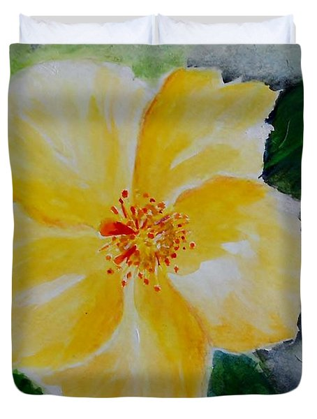 Yellow Hibiscus Duvet Cover by Jamie Frier