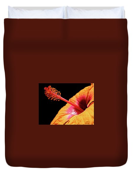 Duvet Cover featuring the photograph Yellow Hibiscus by Marie Hicks