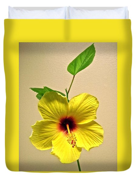 Yellow Hibiscus Duvet Cover by Stephanie Moore