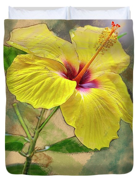Yellow Hibiscus Duvet Cover