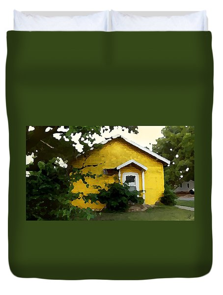 Duvet Cover featuring the digital art Yellow House In Shantytown  by Shelli Fitzpatrick