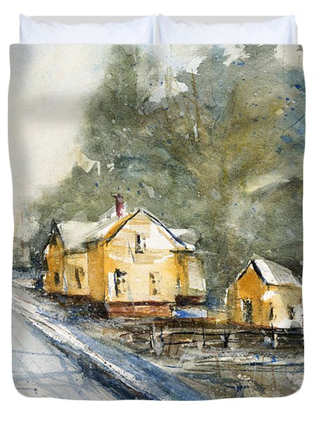 Yellow House On The Right Duvet Cover by Judith Levins