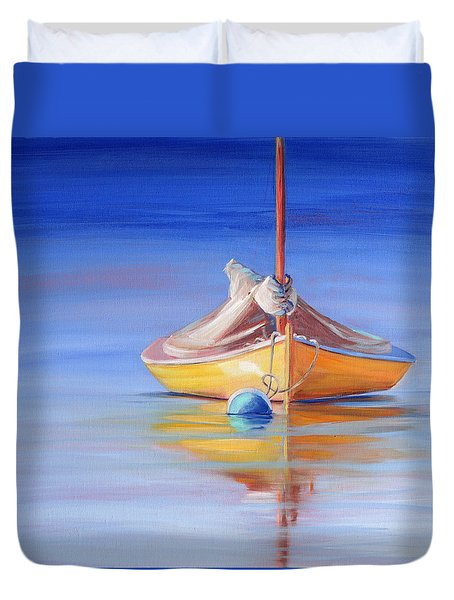 Yellow Hull Sailboat Iv Duvet Cover
