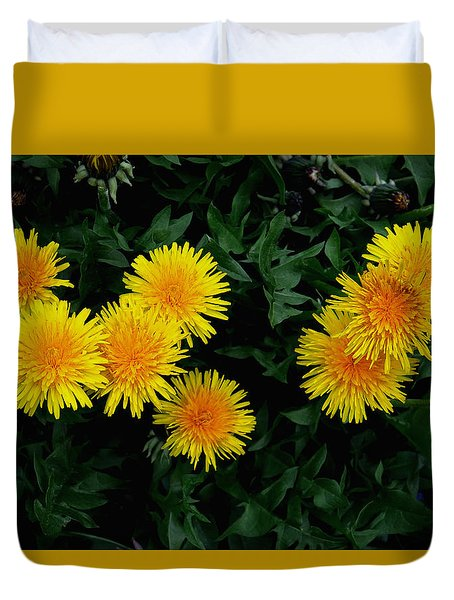 Duvet Cover featuring the photograph Yellow In Green by Dorin Adrian Berbier