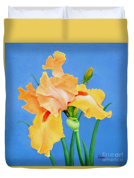 Yellow Iris Duvet Cover by Jimmie Bartlett