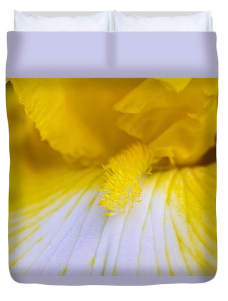 Yellow Iris Duvet Cover by Teri Virbickis