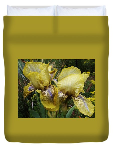 Duvet Cover featuring the photograph Yellow Irises by Bruce Bley