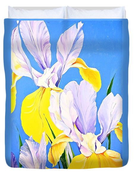 Yellow Irises-posthumously Presented Paintings Of Sachi Spohn  Duvet Cover