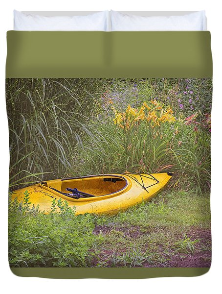 Yellow Kayak Duvet Cover by Tom Singleton