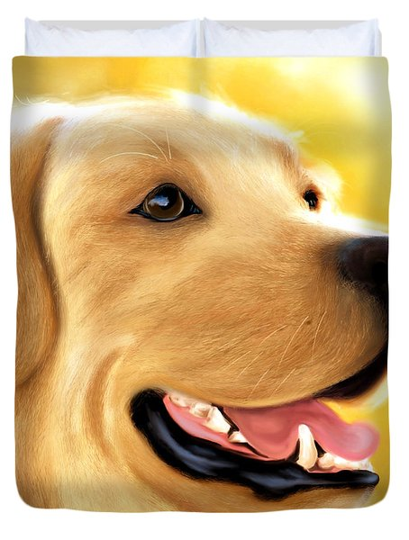 Yellow Lab Portrait Duvet Cover